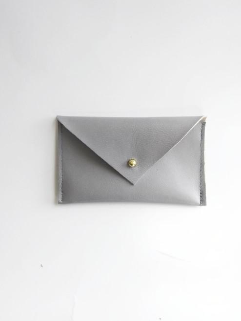 ENVELOPE LEATHER CARD CASE / GRAY