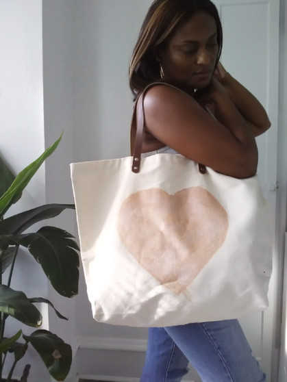 CANVAS PINK HEART TOTE