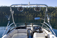 Seen from the rear, the Assault wakeboard tower provides a lot of unobstructed vision on the boat