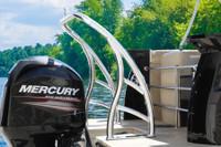 Ski tow bar installed on pontoon boat swim deck