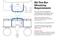 Skit tow bar mounting requirements shows you the space required on your boat's swim platform