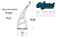 Line drawing of ski tow with measurements taken from the side view