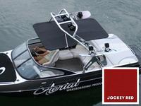 Sunbrella Jockey Red marine canvas and bimini frame for FreeRide wakeboard towers.