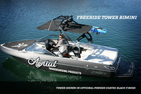 Optional FreeRide wakeboard tower bimini is very strong and aerodynamic- speed tested up to 50 mph. Features a premium stainless steel frame and Sunbrella marine fabric.