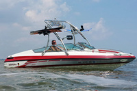 Even in choppy waters, the Ascent wakeboard tower is very solid and perfect for wakeboarding