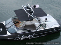 FreeRide wakeboard tower bimini available in captain navy but shown in black.