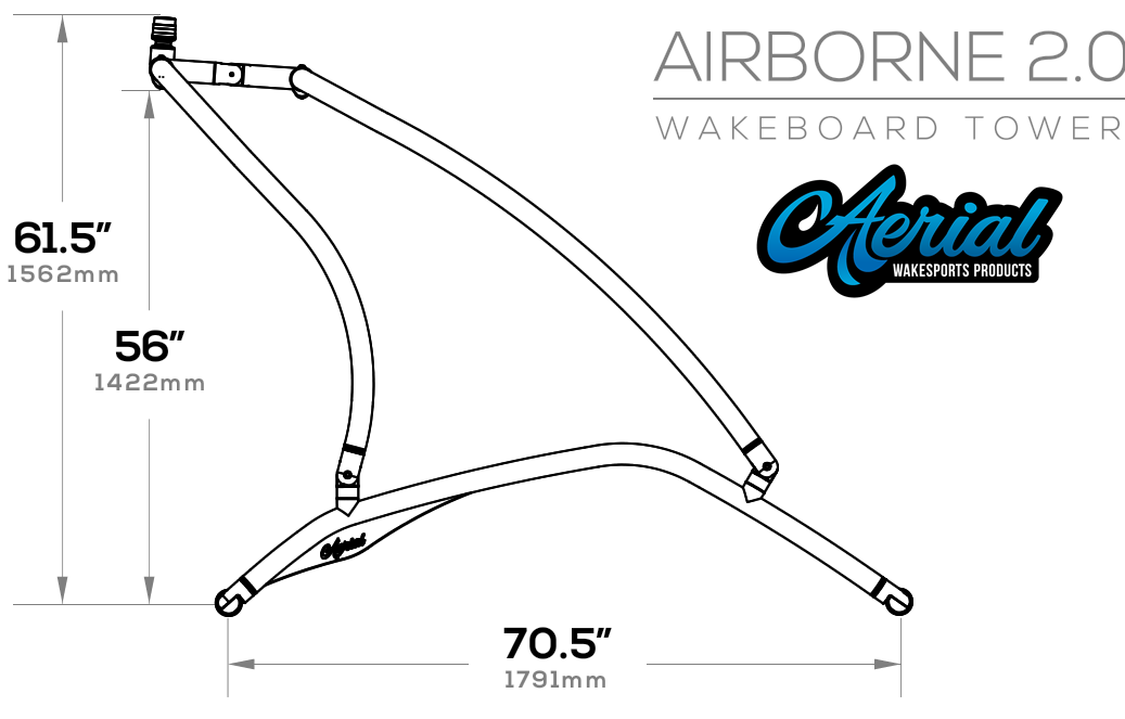 Side dimensions of Aerial Airborne 2.0 wakeboard tower