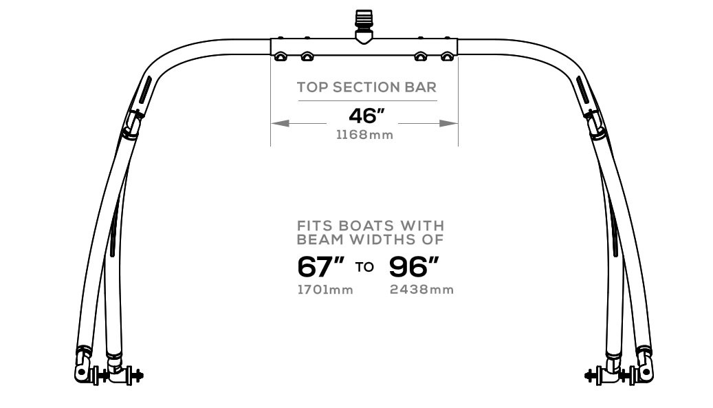 Adjustable measurements of Ascent 2.0 wakeboard tower