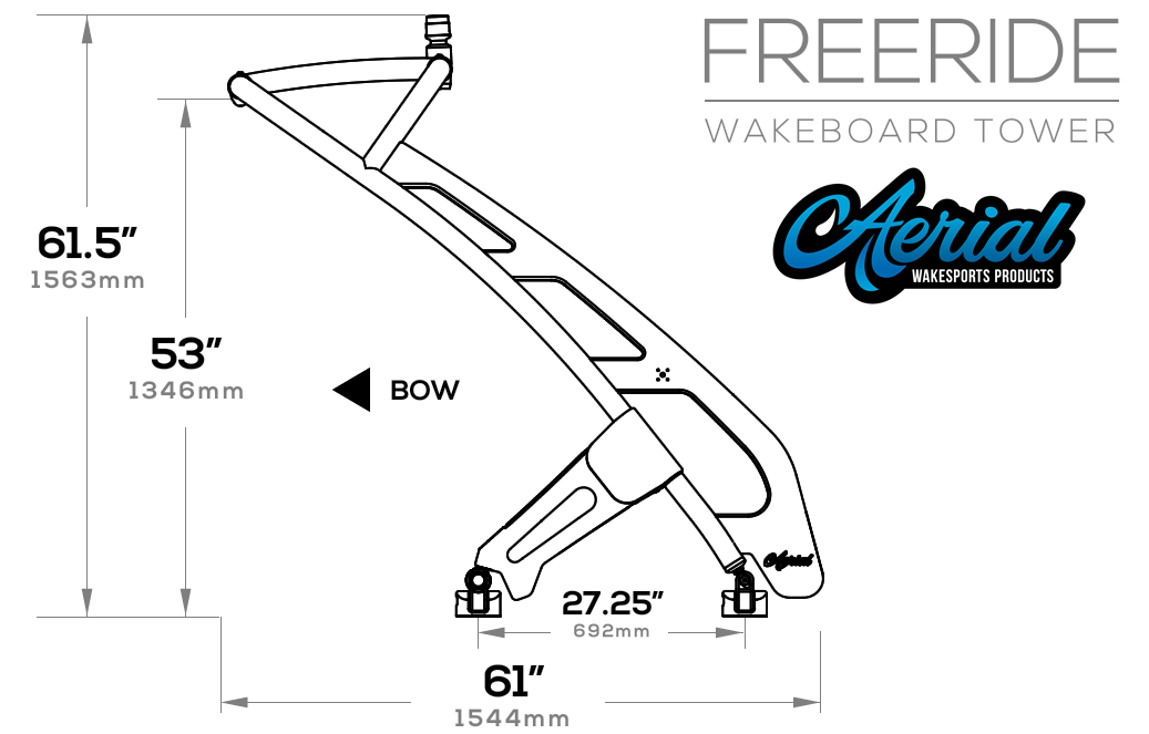 FreeRide Wakeboard Tower Product Dimensions