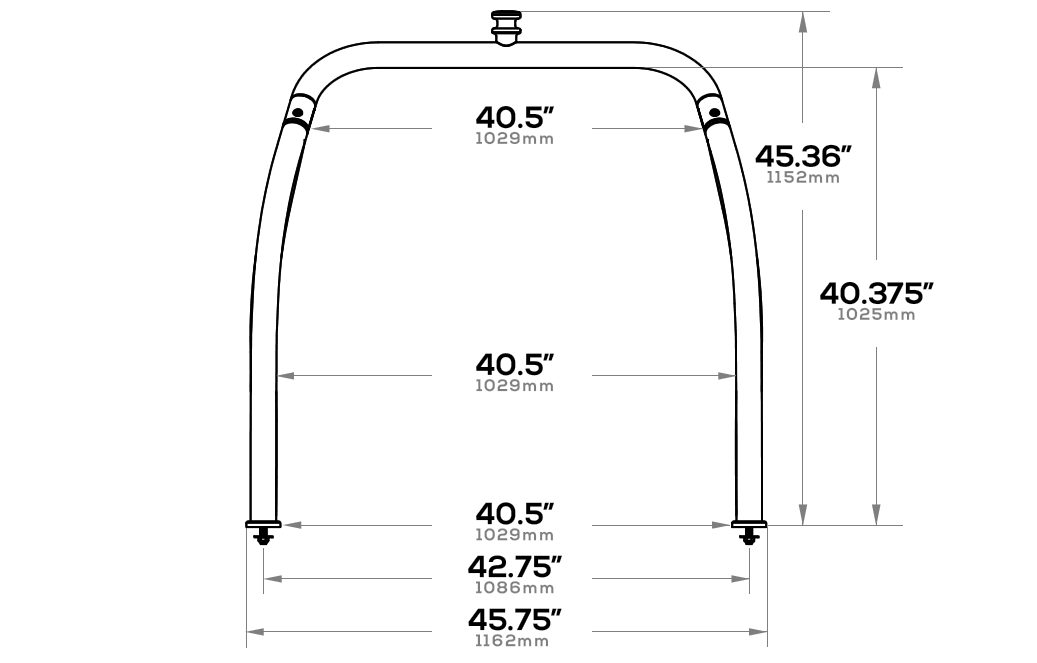 Ski tow bar dimensions from the front angle