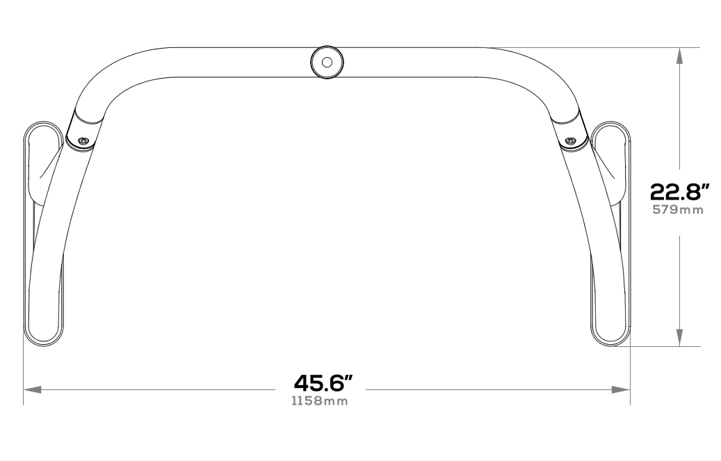 Ski tow bar dimensions from the top-down angle