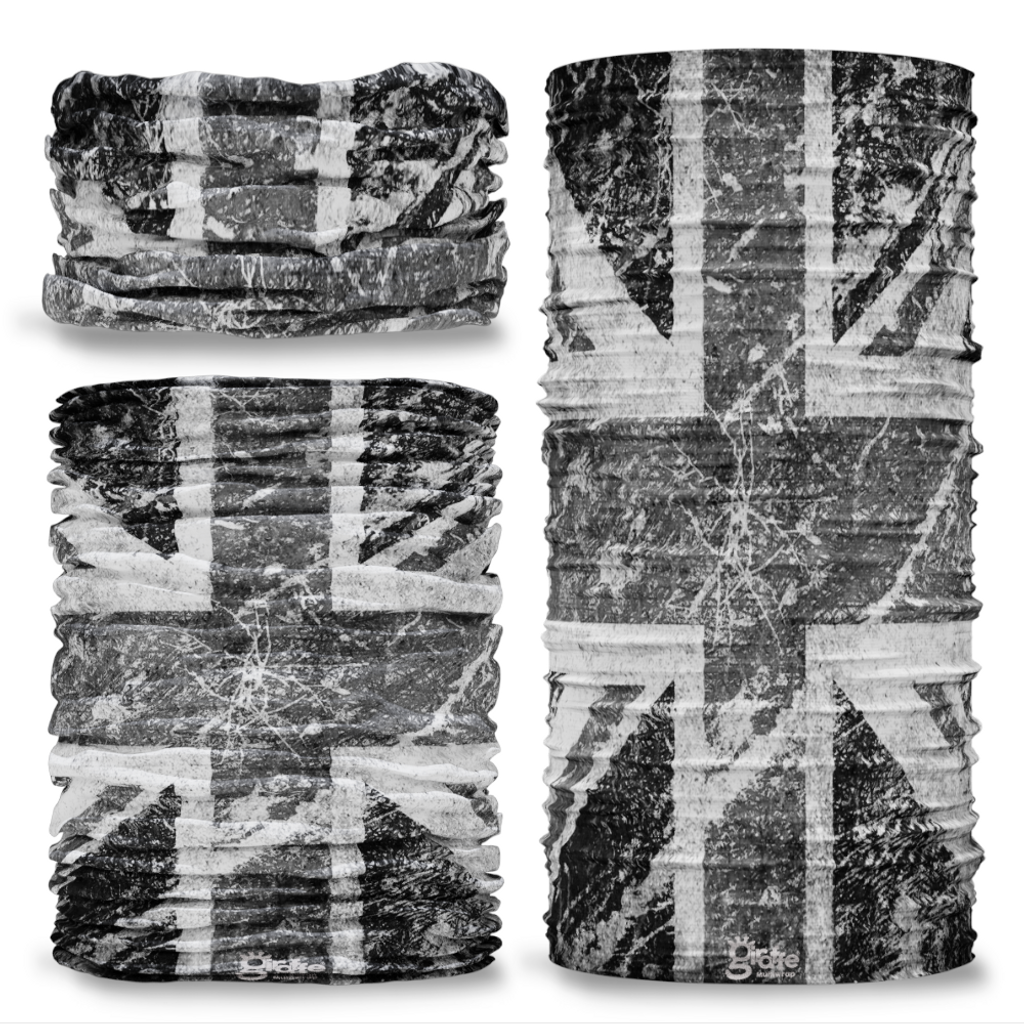 G-284 Black & White Union Jack Flag Vintage Seamless Tube Bandana Snood Multifunctional multiwrap Giraffe headwear