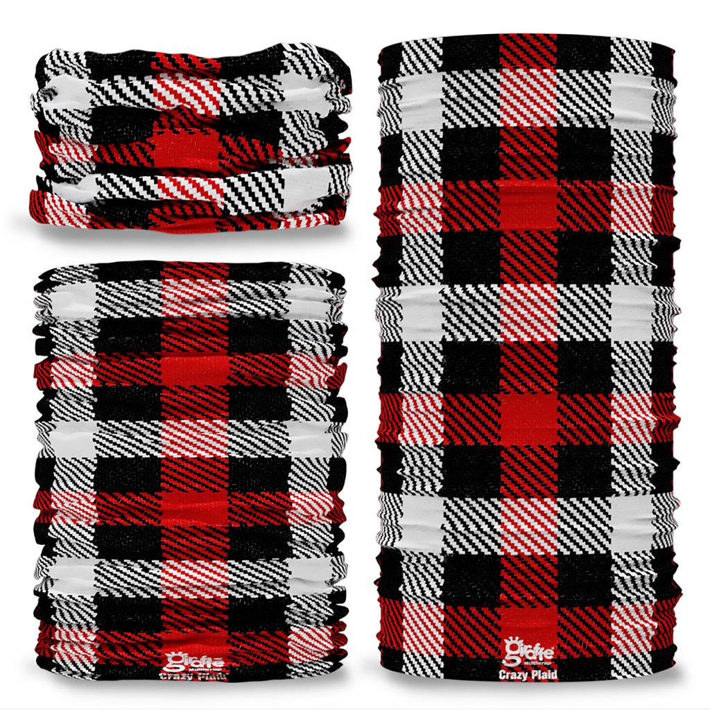 G-734 Crazy Black Red Check Plaid Tartan Seamless Tube Bandana Snood Multifunctional multiwrap Giraffe headwear