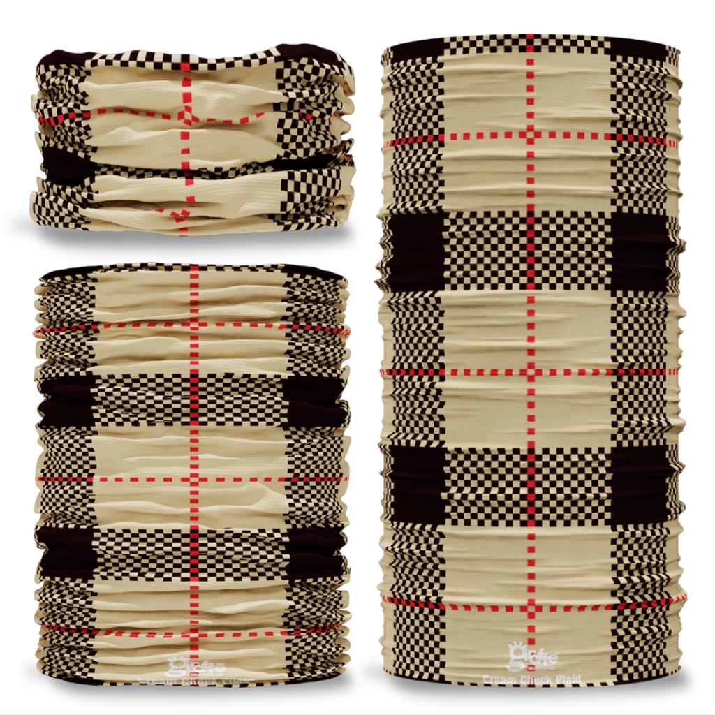 Cream Check Plaid Tartan Scottish Clan Seamless Tube Bandana Snood Multifunctional multiwrap Giraffe headwear