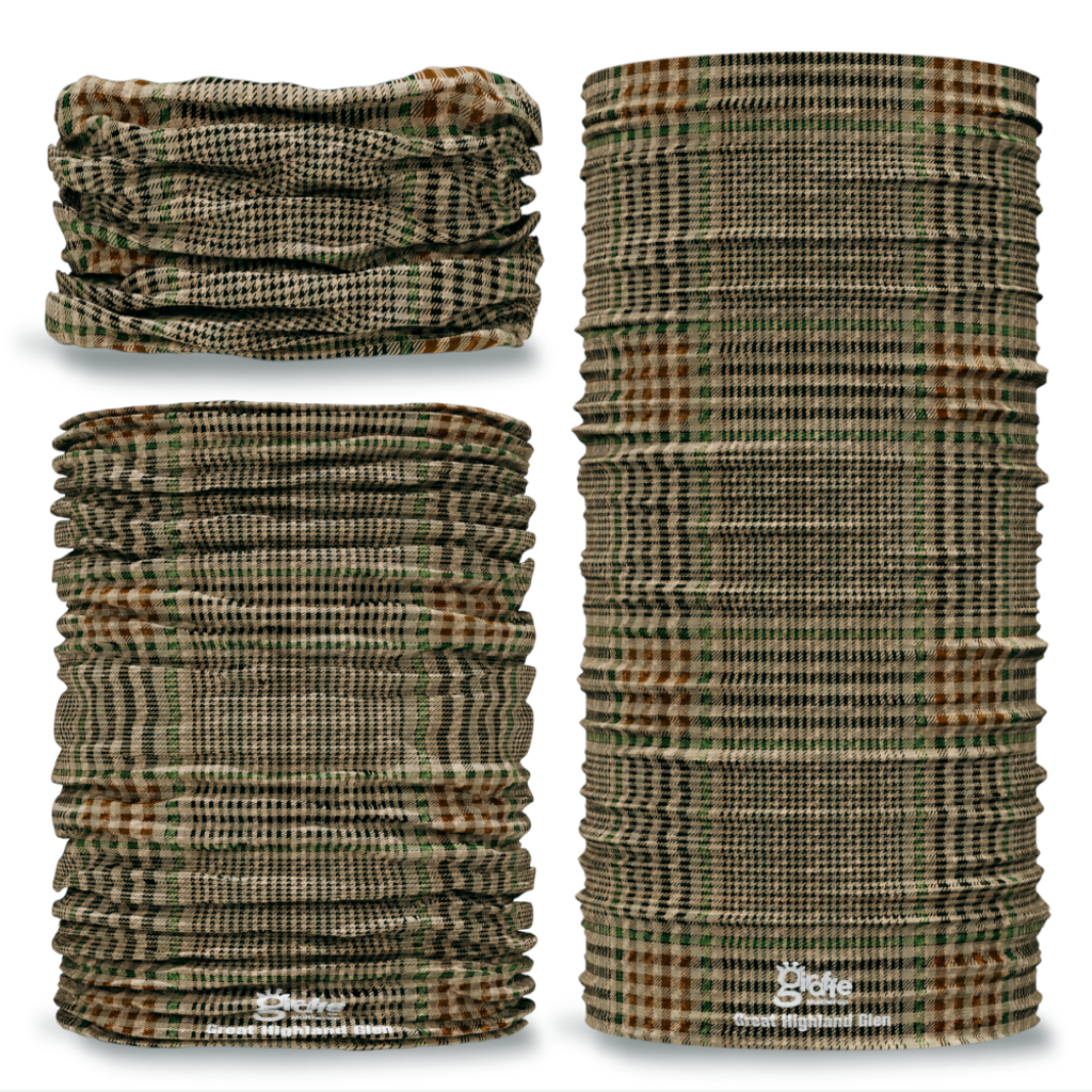 G-731 Great Highland Glen tweed tartan Seamless Tube Bandana Snood Multifunctional multiwrap Giraffe headwear