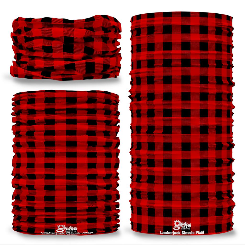 G-736 Lumberjack Red Black Plaid Seamless Tube Bandana Snood Multifunctional multiwrap Giraffe headwear