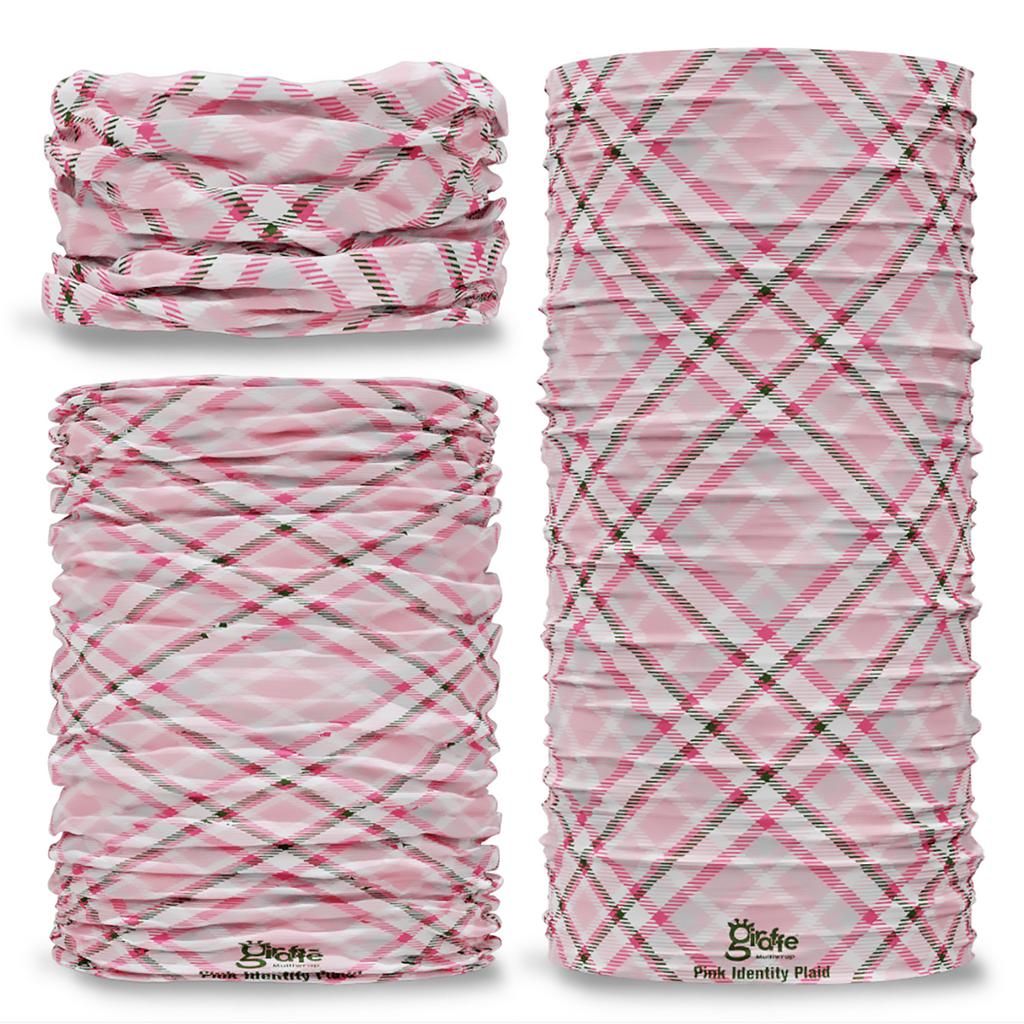 G-732 Pink Identity Plaid tartan Seamless Tube Bandana Snood Multifunctional multiwrap Giraffe headwear