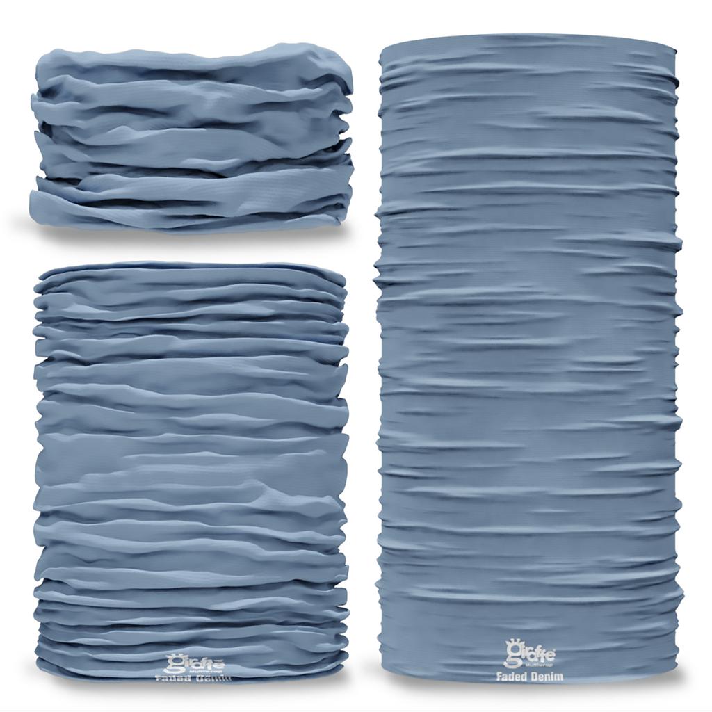 G-697 Faded Denim Blue Pantone Seamless Tube Bandana Snood Multifunctional multiwrap Giraffe headwear
