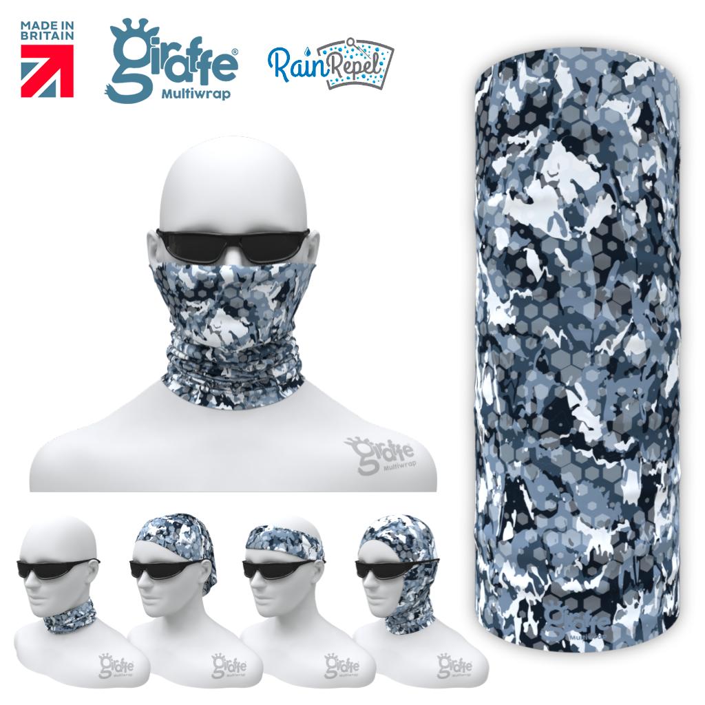 Pixel Honeycombe Urban Camo Arctic  Blue Grey Camouflage  Multi-functional Tube Bandana G-709
