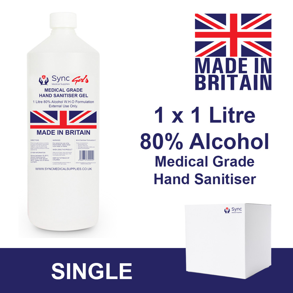 1 litre Hand Sanitiser Gel. 80% Alcohol
