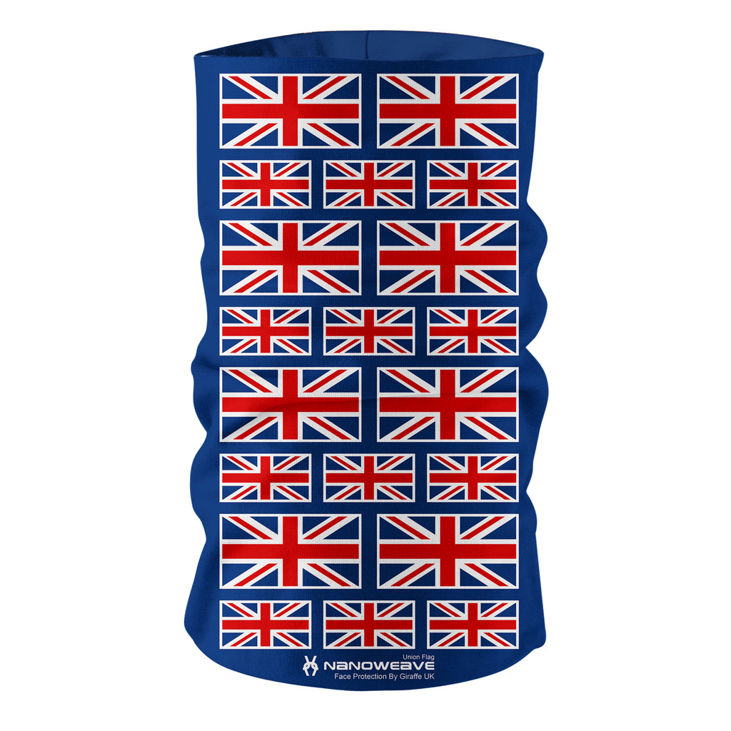 Nano Weave Union Jack Flag Multi-functional face protection. Seamless Tube Bandana