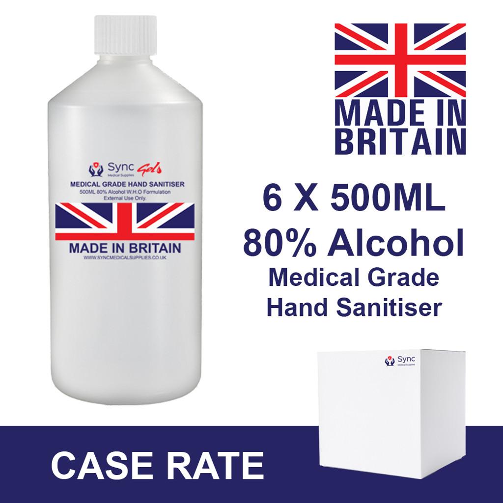 6 X 500ml medical grade 80% alcohol hand sanitiser. Flip top.