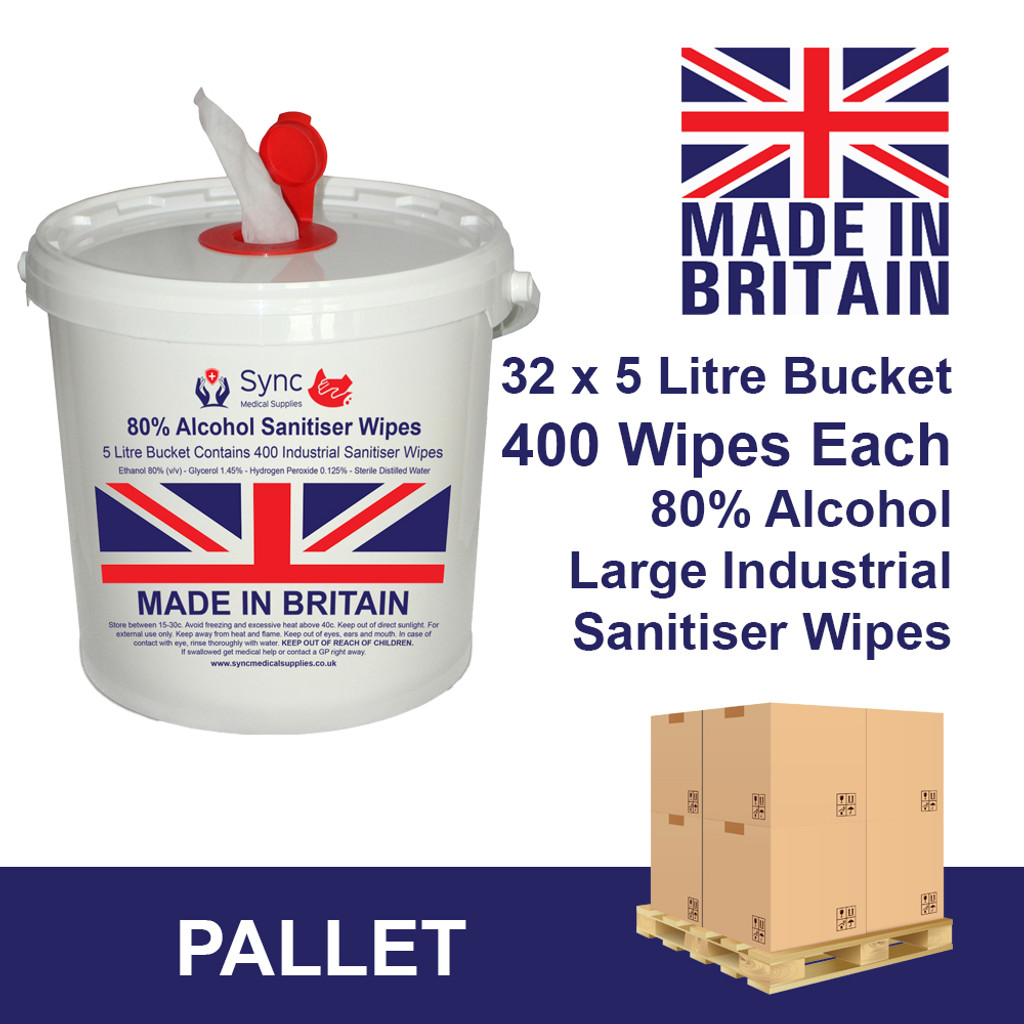 32 X 5 LITRE BUCKET OF 80% ALC WIPES. 12,800 INDUSTRIAL WIPES TOTAL
