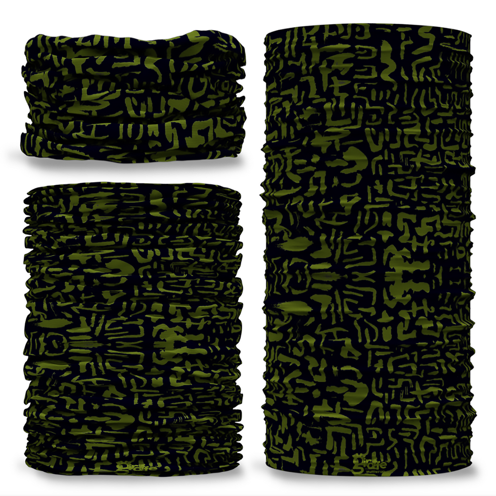 GCAM-7 Camo Aztec reversible plain green inside camouflage Multi-functional bandana headwear multiwrap snood