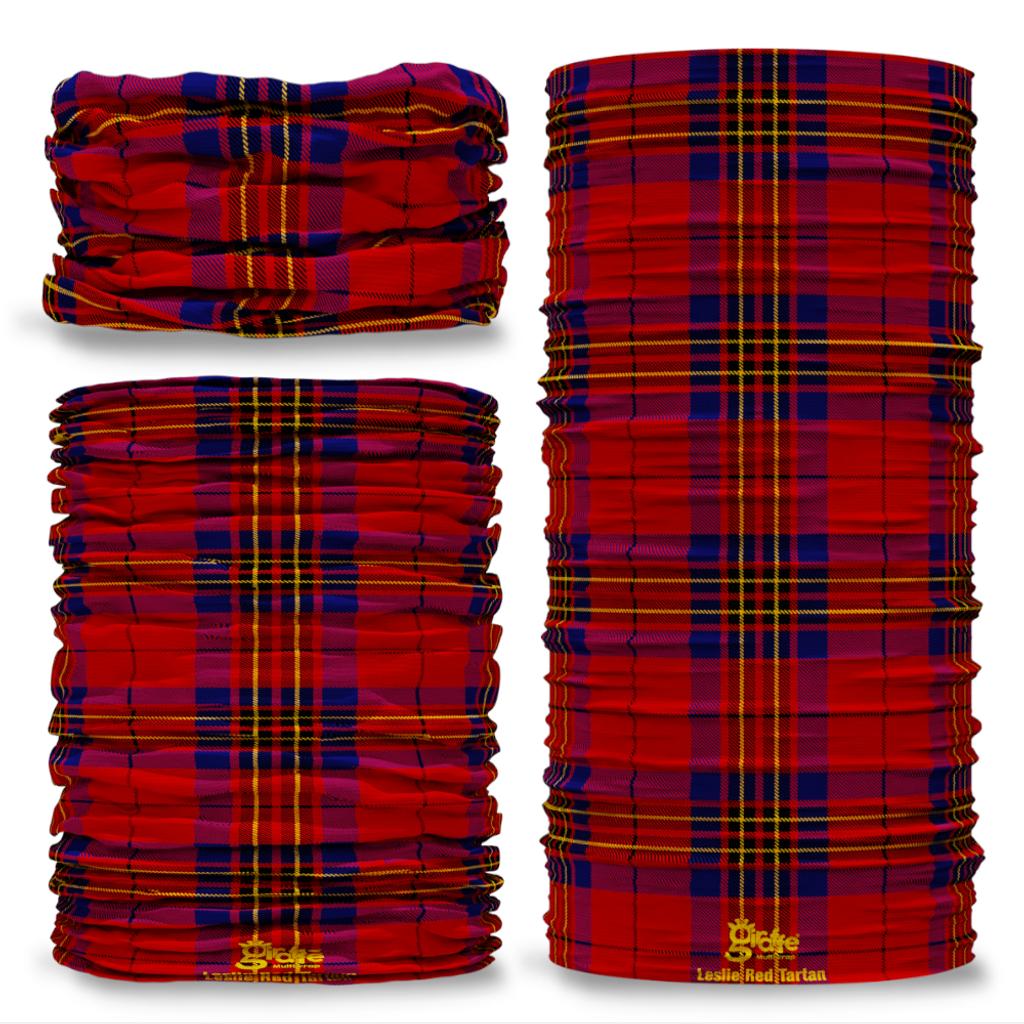 Leslie Red Tartan Scottish Scotland Seamless Tube Bandana Snood Multifunctional multiwrap Giraffe headwear