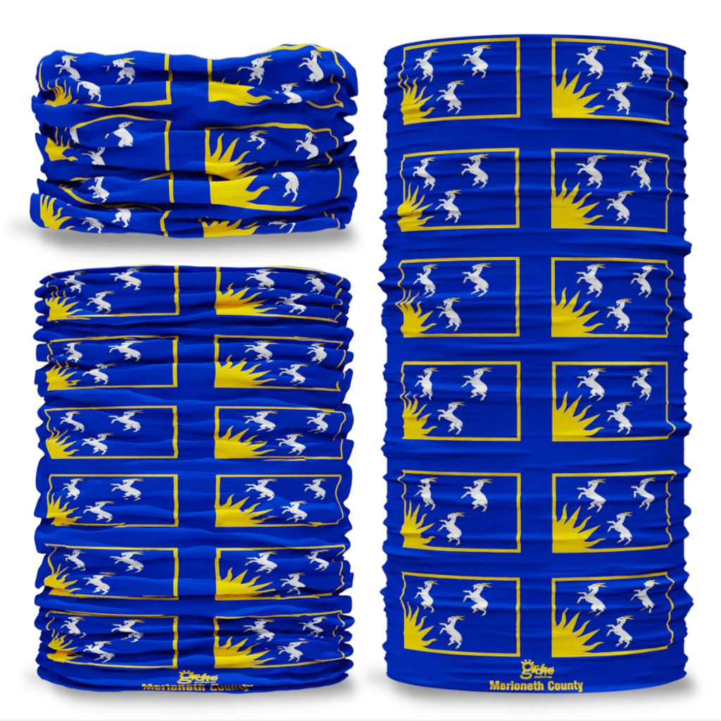 Merioneth County Flag Tube Bandana Snood Multifunctional multiwrap Giraffe headwear
