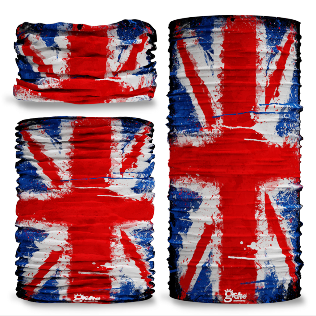 G-278 Union Jack  Flag Paint Drip Seamless Tube Bandana Snood Multifunctional multiwrap Giraffe headwear
