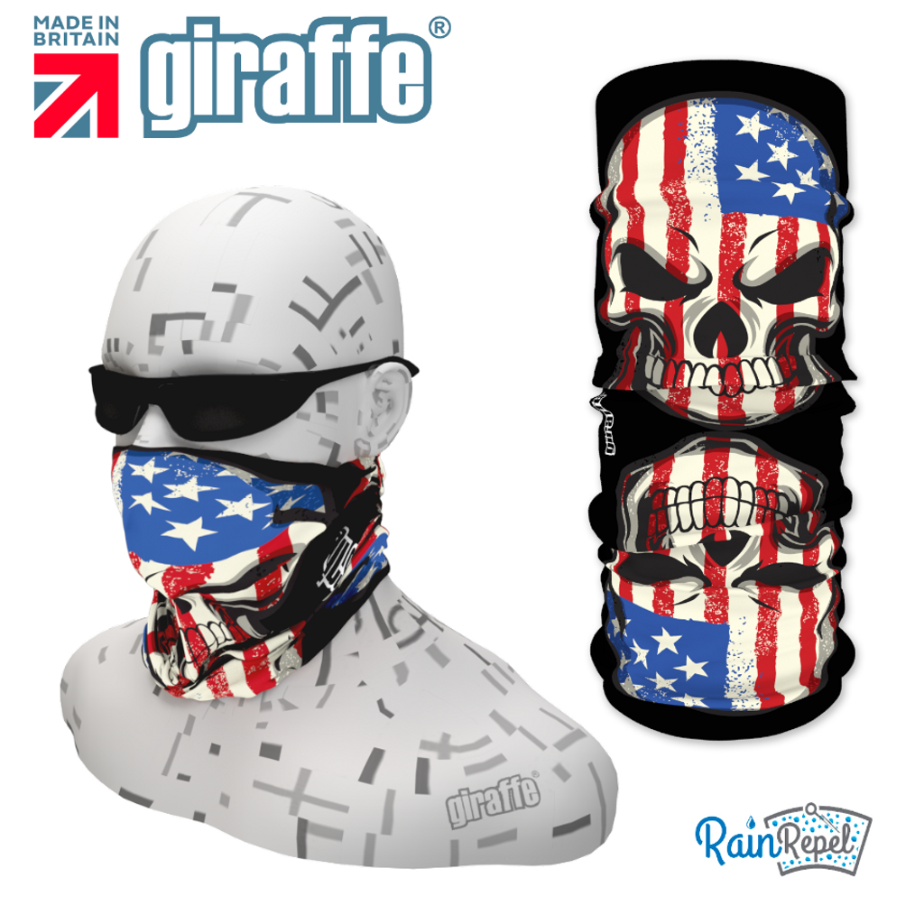 G320 USA Flag Double Skull Tube Bandana