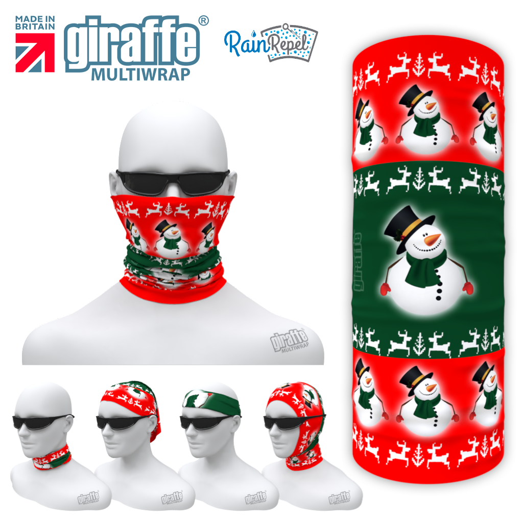G326 Fat Snowman Xmas Green Red Tube Bandana