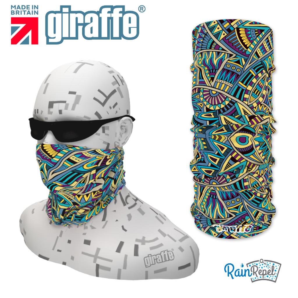 G363  Greens Blues Aztec Design Tube Bandana