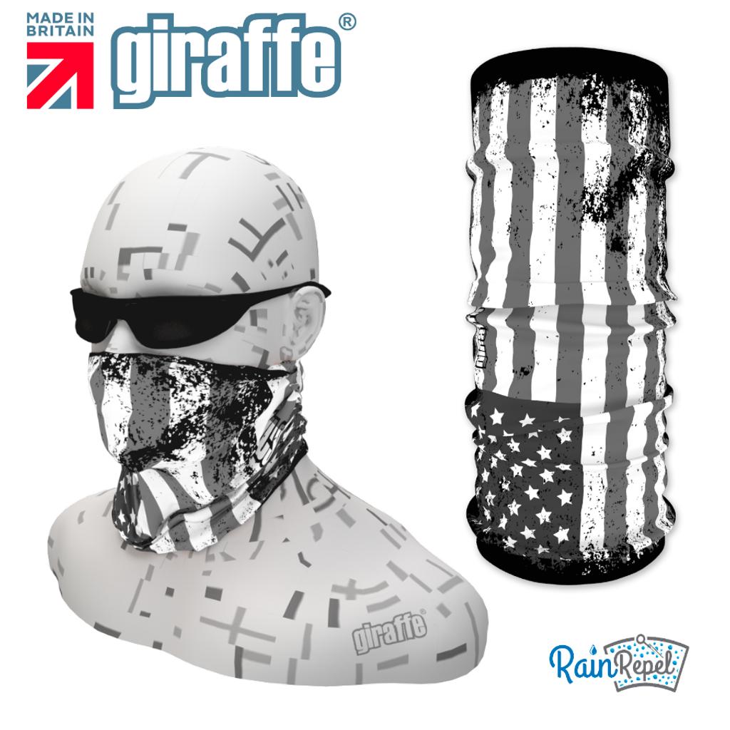 G396 Black & White USA Flag Tube Bandana