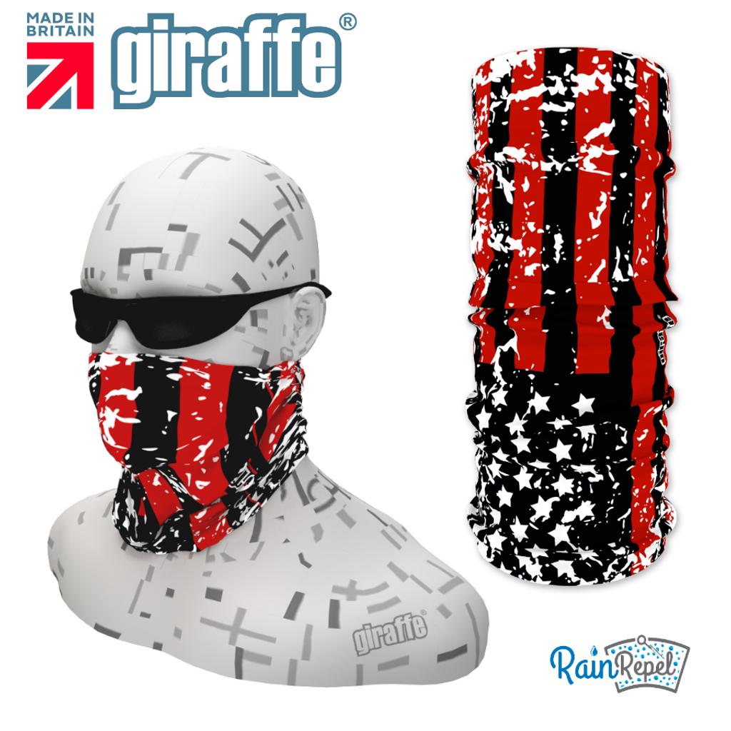 G397 Black & Red USA Flag Tube Bandana