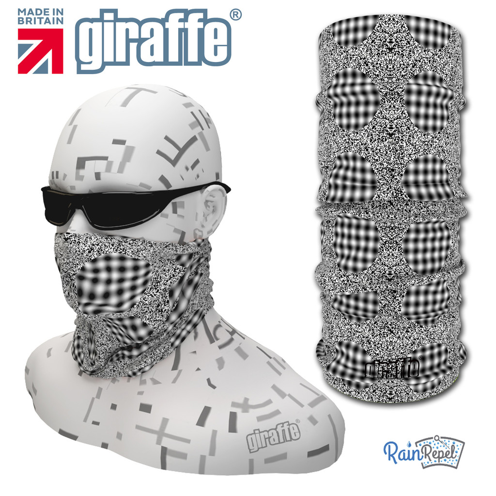 G438 Moving Spots Optical Illusion Black White Tube  Bandana