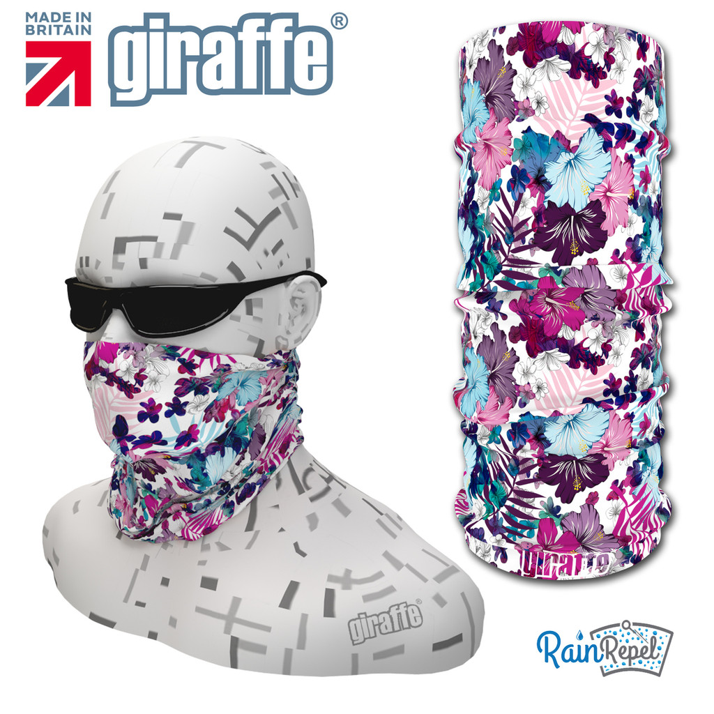 G465 Floral Pinks Blues Purples  Multi-functional Tube Bandana