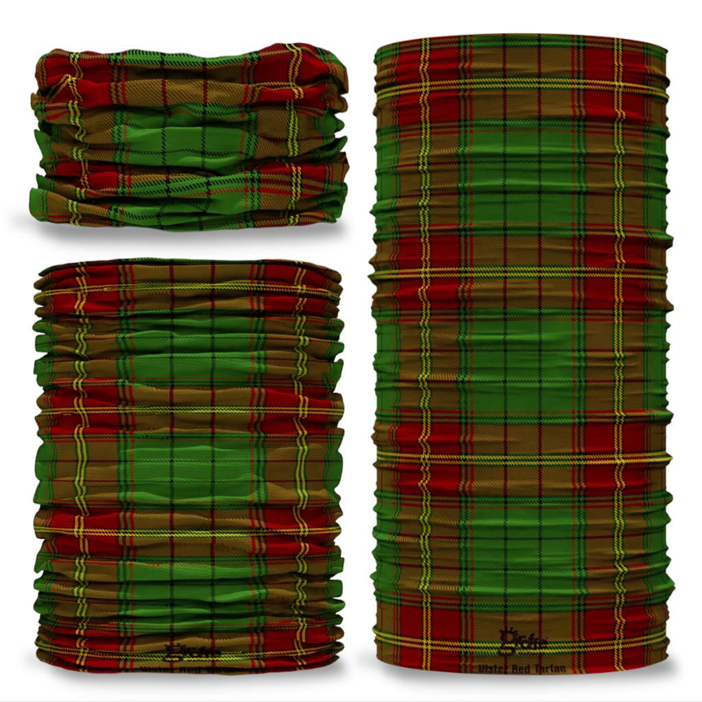 Ulster Red District Tartan Irish Ireland Clan Seamless Tube Bandana Snood Multifunctional multiwrap Giraffe headwear