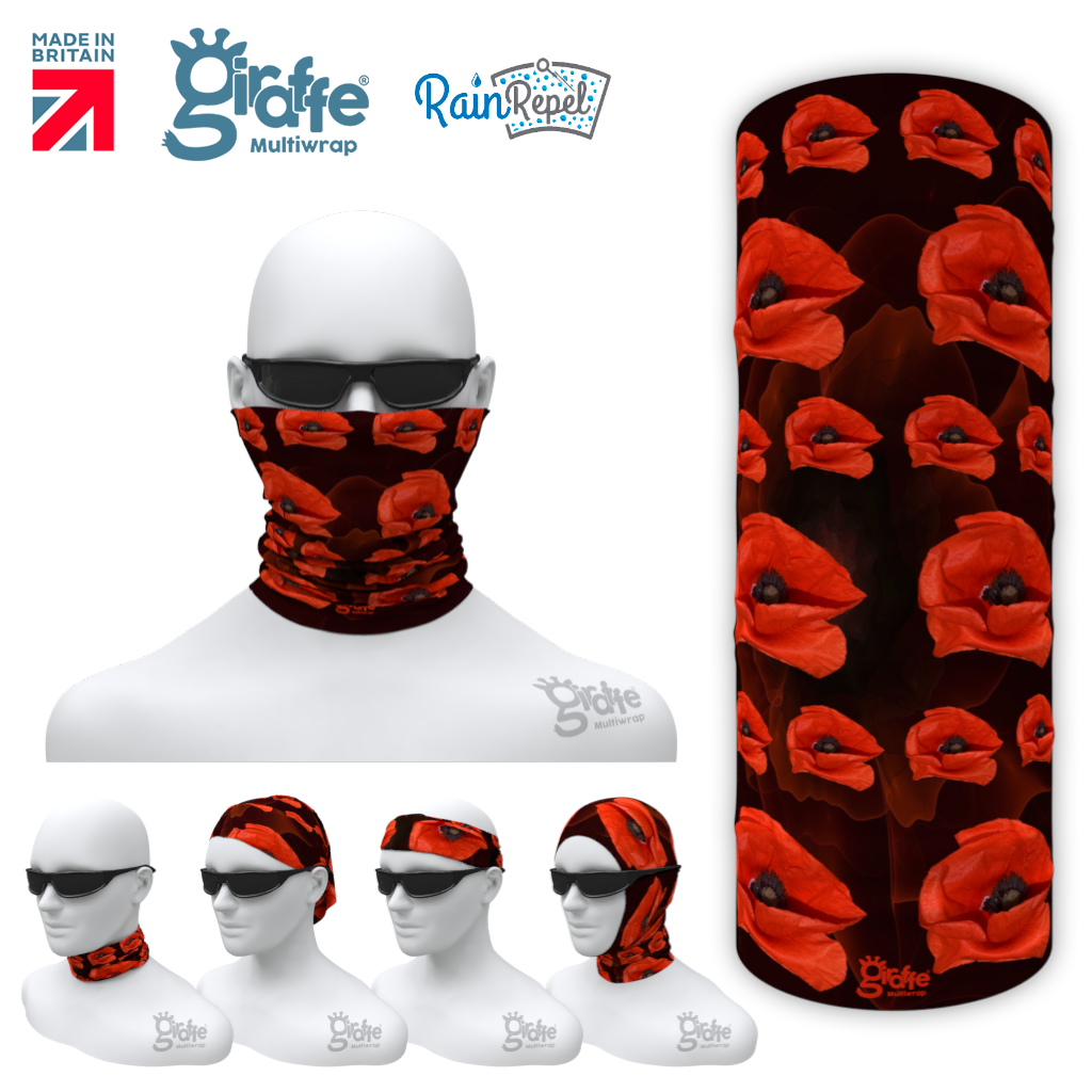 Remembrance Day Poppy 01 Multi-functional head-wear bandana tube