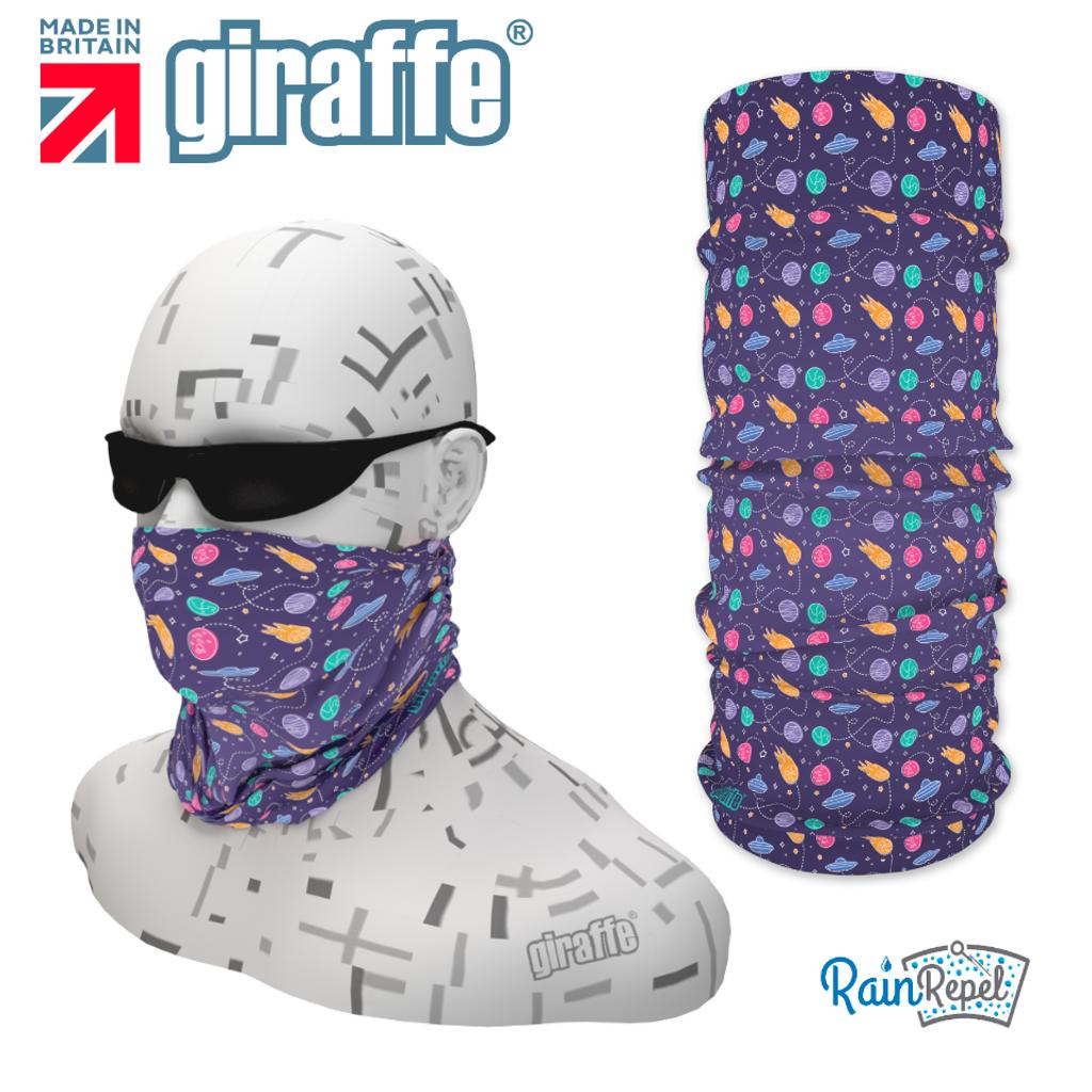 G-481 Purple Pattern Face Mask Black Tube  Bandana