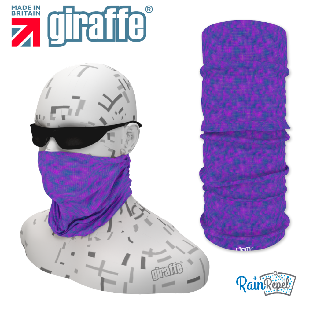 G-487 Purple Pattern Face Mask Black Tube  Bandana