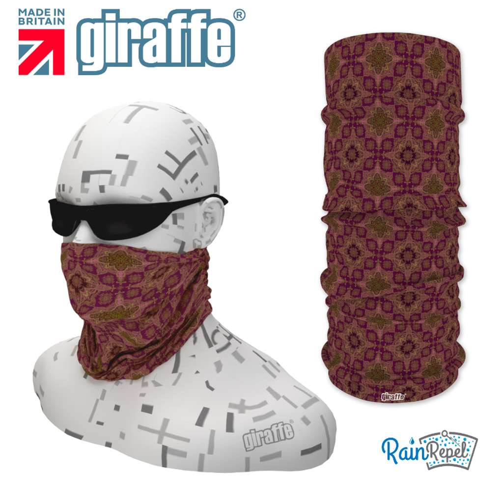 G-500 Purple  Pattern Face Mask Black Tube  Bandana