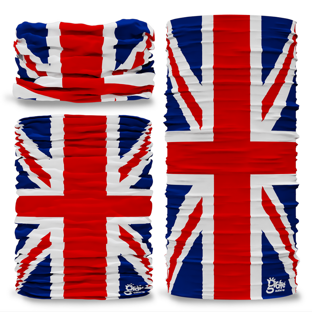 G-566 Great Britain GB Union Jack Flag Pattern Seamless Tube Bandana Snood Multifunctional multiwrap Giraffe headwear