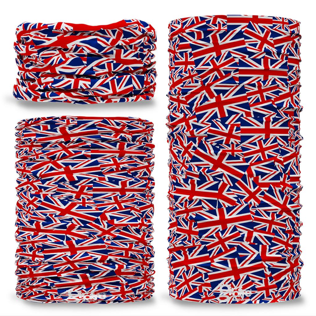 G-569 Great Britain Union Jack Flag Montage Seamless Tube Bandana Snood Multifunctional multiwrap Giraffe headwear