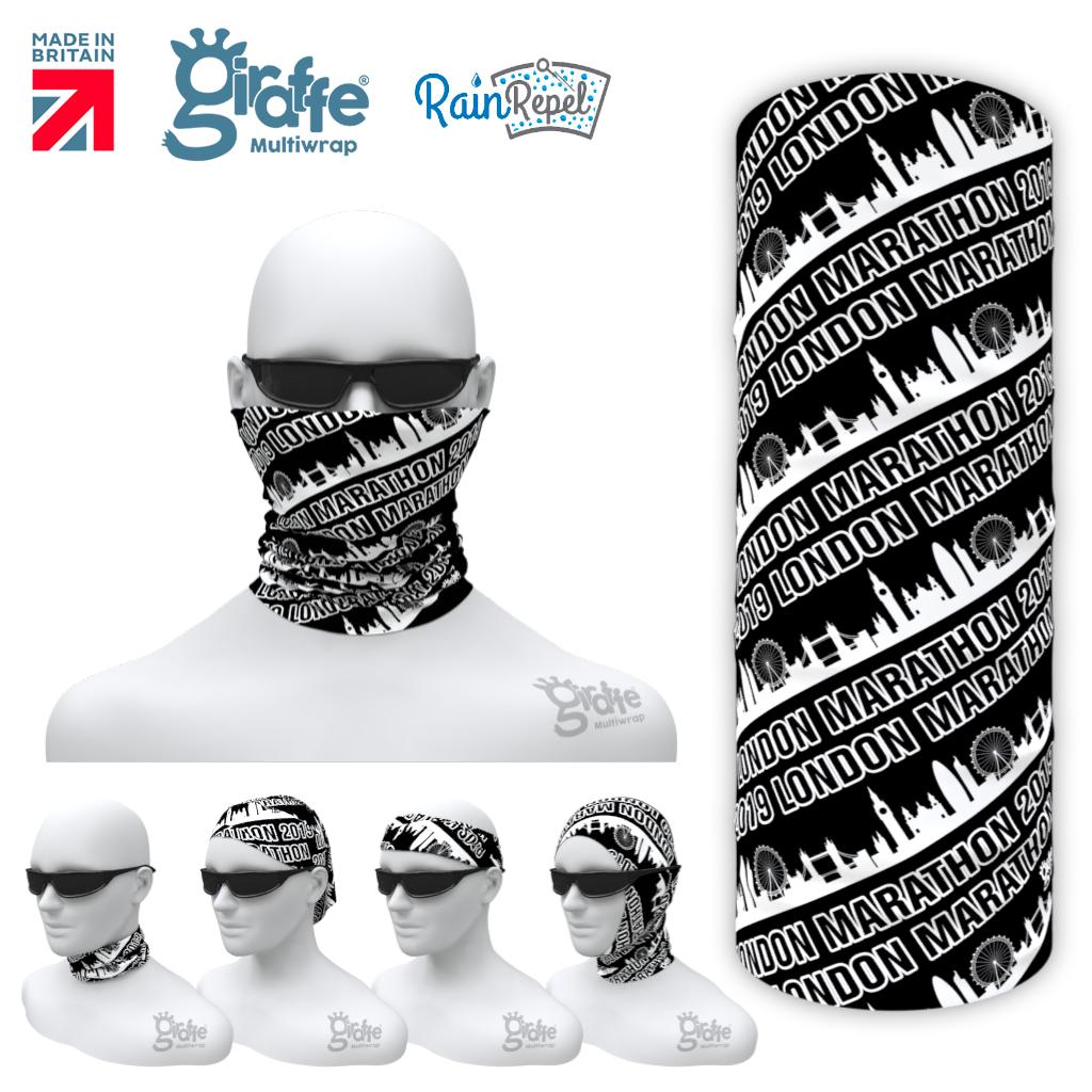 LONDON MARATHON 2019 -   BLACK / WHITE Multi-functional Bandana