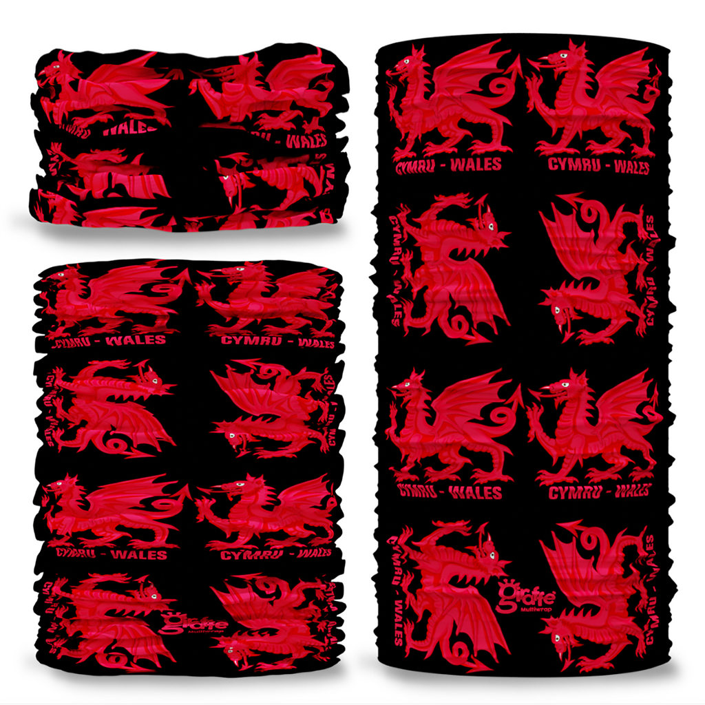 G-624 Wales Dragon Welsh Seamless Tube Bandana Snood Multifunctional multiwrap Giraffe headwear