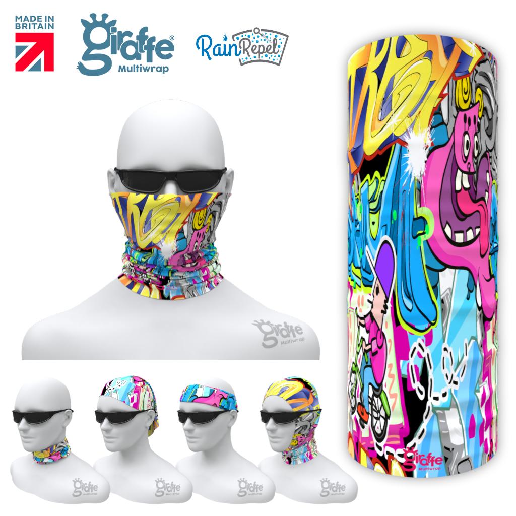 G-632 Graffiti Pink Face Mask Tube  Bandana