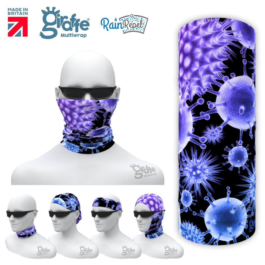 G-640 Cell bound Purple  black Mask Tube  Bandana
