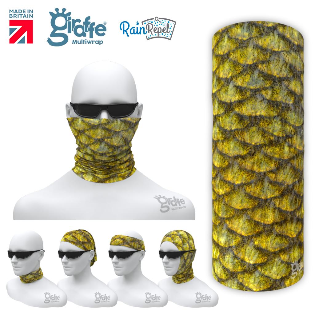 G-650 Yellow Gold Fish Scales Photo Realistic  Mask Tube  Bandana